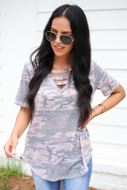 Taupe - Camo Cut Out Tee