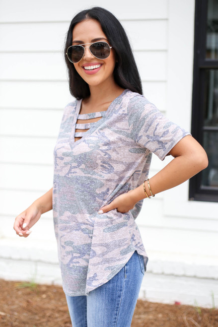 Model wearing Taupe Camo Cut Out Tee Side View