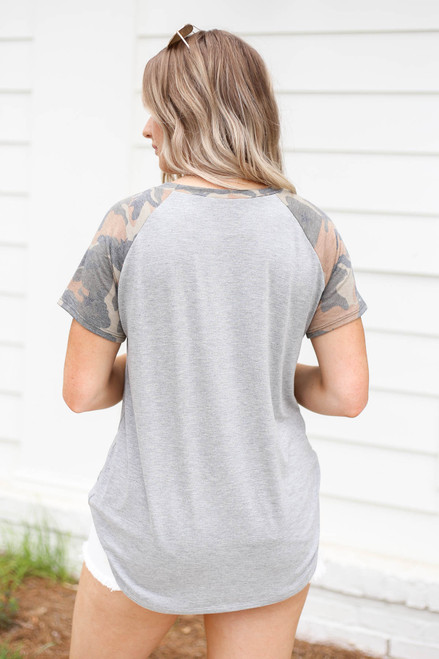 Model wearing Heather Grey and Camo Ringer Tee Back View