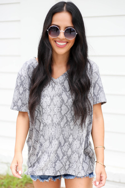 Model wearing Heather Grey Snakeskin V-Neck Tee Front View