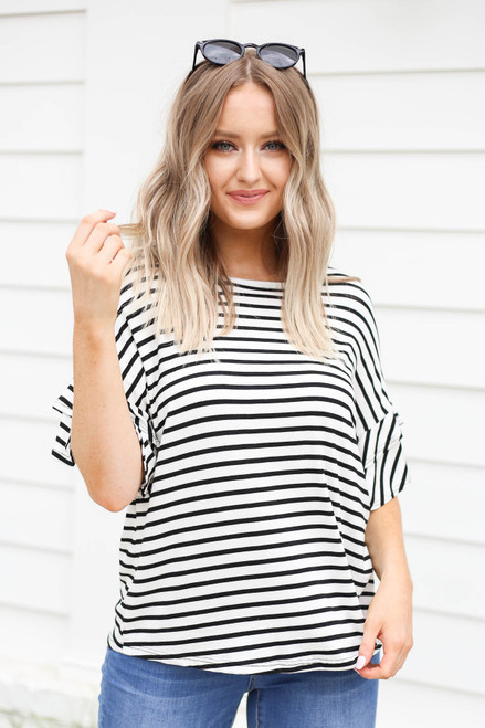 White - Striped Ruffle Sleeve Tee