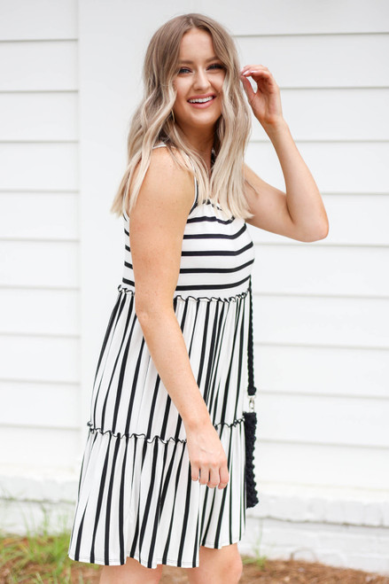 White - and Black Striped Tiered Dress Side View