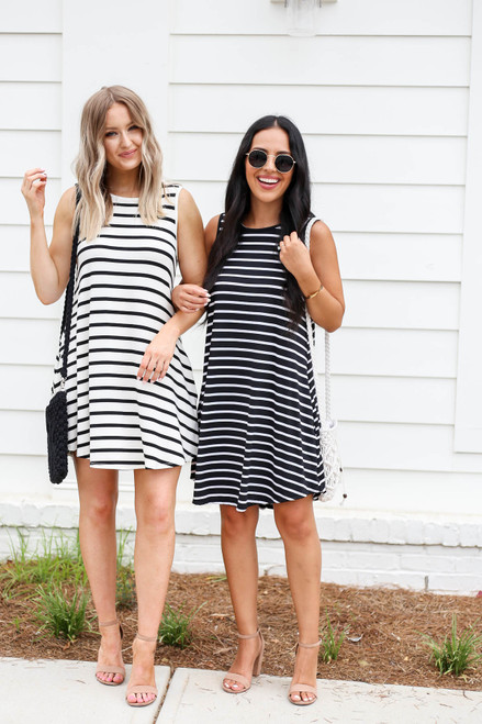 White - and Black Striped Button Back Mini Dress