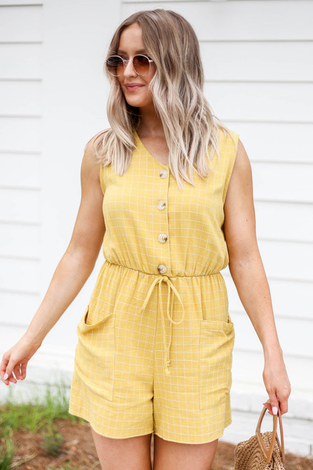Mustard - Windowpane Plaid Romper