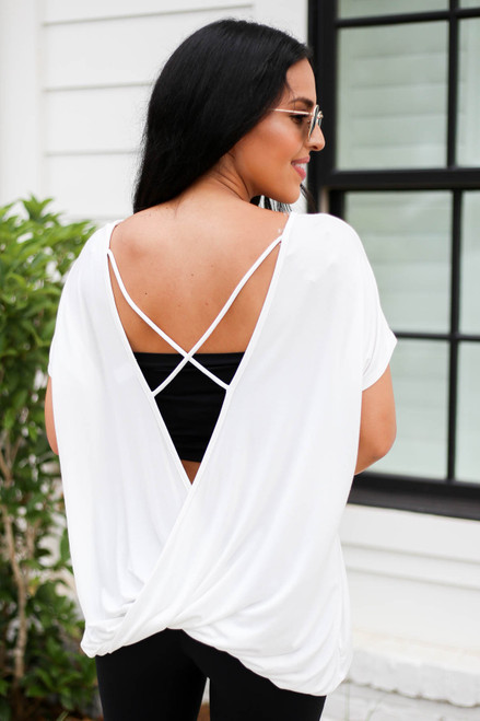 White - Cross Back Tee Back View