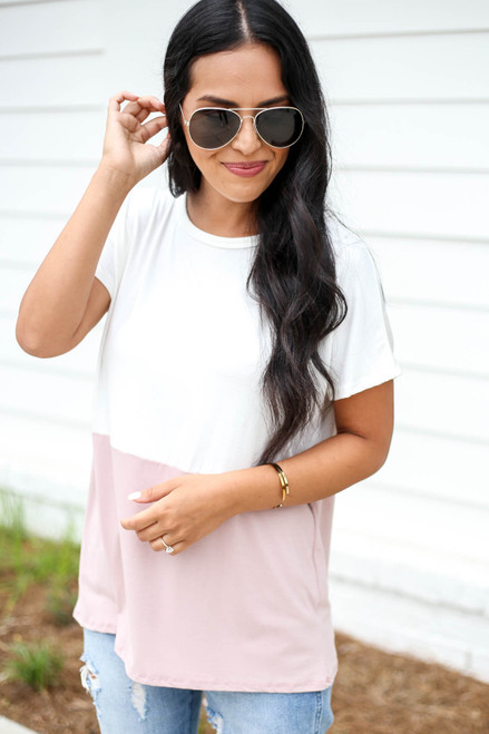 White - and Pink Color Block Tee