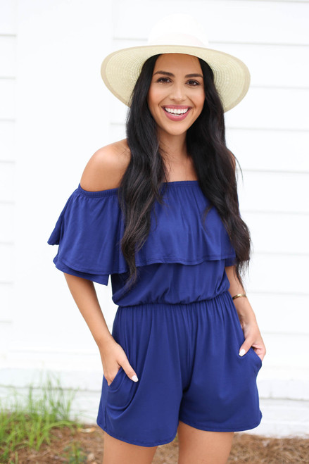 Navy - Off the Shoulder Ruffle Romper