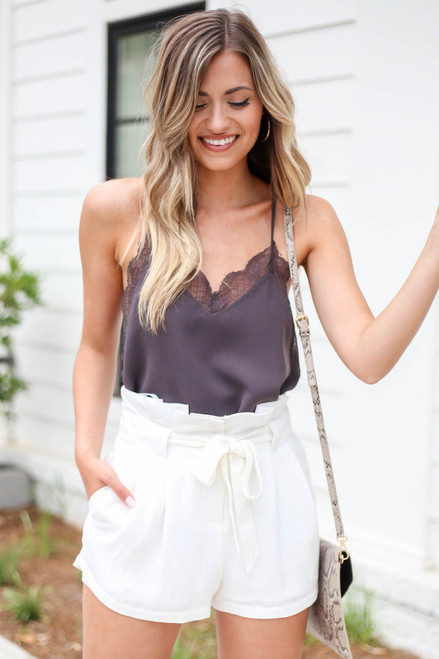 White - Paperbag Waist Belted Shorts