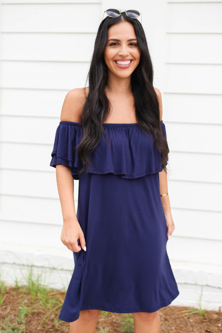 Navy - Off the Shoulder Pocketed Mini Dress