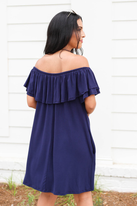 Model wearing Navy Off the Shoulder Pocketed Mini Dress Back View