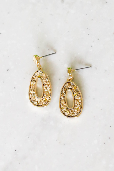 Gold - Oval Stone Drop Earrings Flat Lay