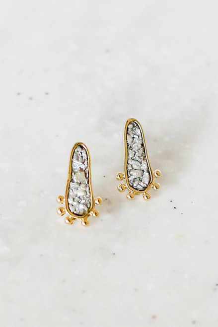 Silver - Stone Stud Earrings Flat Lay