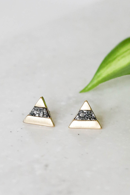 Black and Gold Stone Triangle Stud Earrings Flat Lay