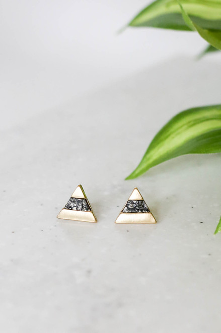 Black - And Gold Stone Triangle Stud Earrings