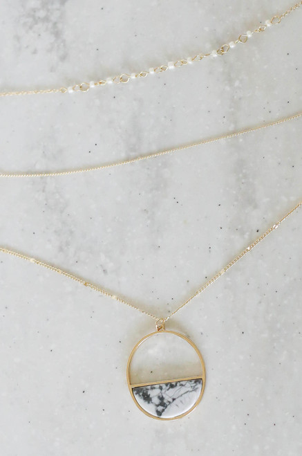 White - Layered Marble Pendant Necklace Flat Lay
