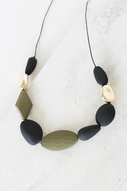 Grey and Olive Statement Beaded Necklace