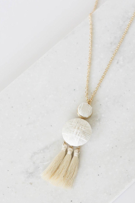 Ivory - Woven Tassel Necklace Flat Lay