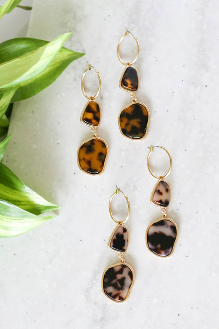 Tortoise and Ivory Acrylic Drop Earrings Flay Lay