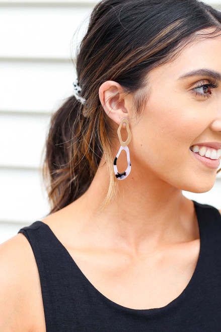 Ivory - and Gold Acrylic Statement Earrings on Model
