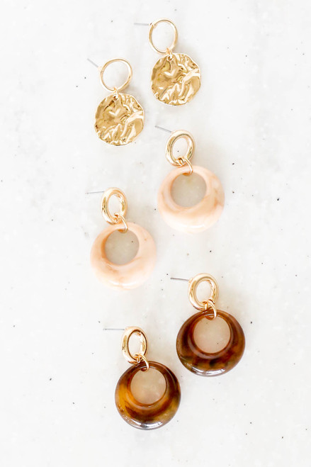 Multi - Blush, Gold, and Tortoise Drop Earring Set