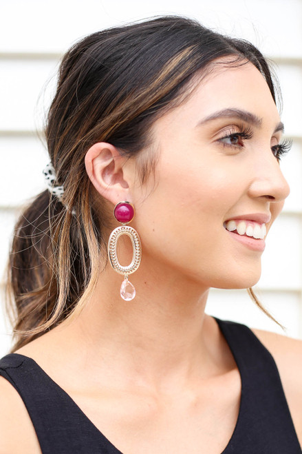 Red - And Gold Statement Earrings on Model