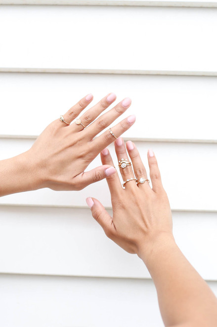 Gold - Assorted Ring Set On Model