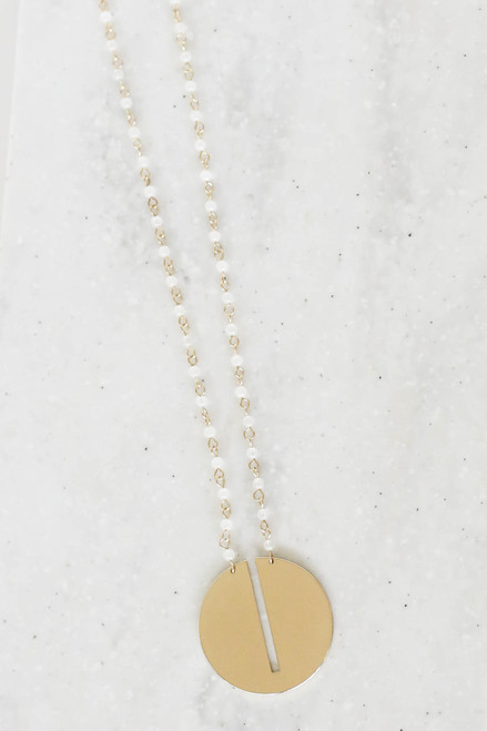 White - Beaded Circle Necklace Flat Lay