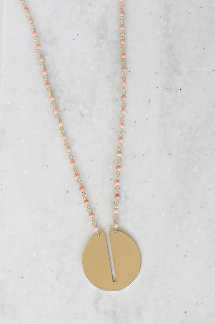 Taupe - Long Beaded Circle Necklace Flat Lay