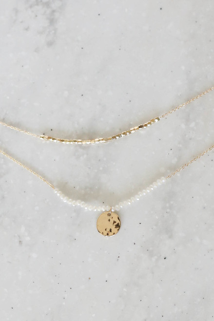 White - Beaded Necklace Flat Lay
