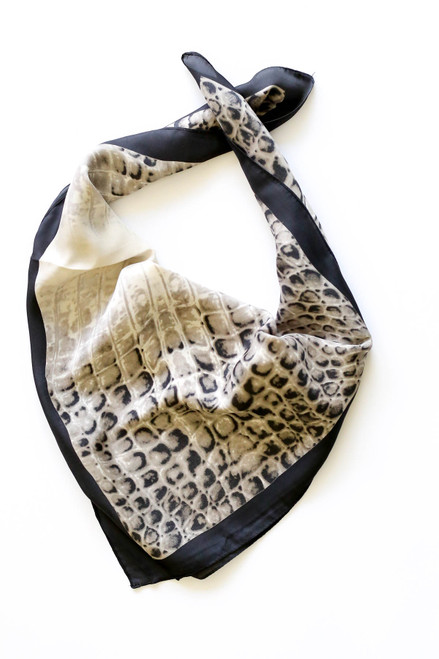 Black - and Ivory Crocodile Print Satin Scarf Bandana Flat Lay