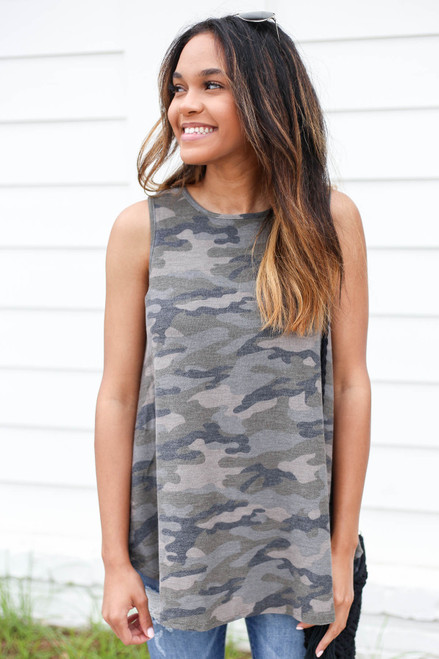 Model wearing Camo Knit Tank Top Front View