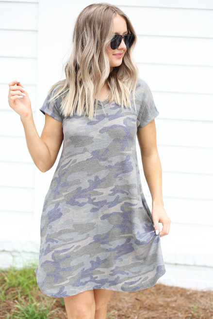 Model wearing Camo Short Sleeve French Terry Dress Front View