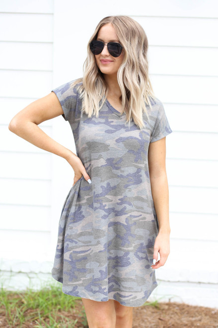 Camo - Short Sleeve French Terry Dress