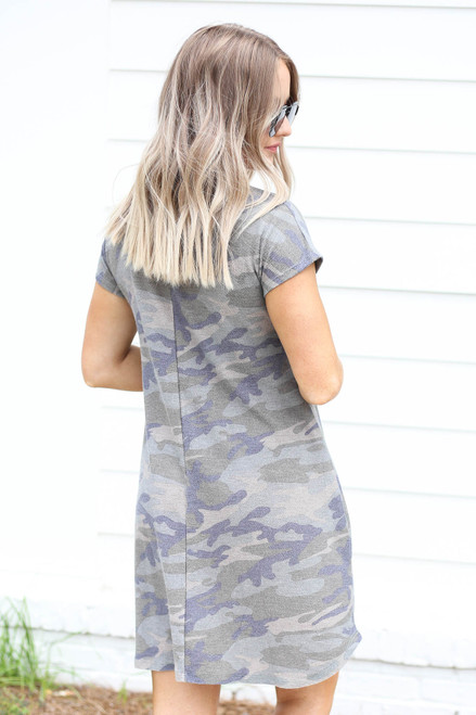 Model wearing Camo Short Sleeve French Terry Dress Back View