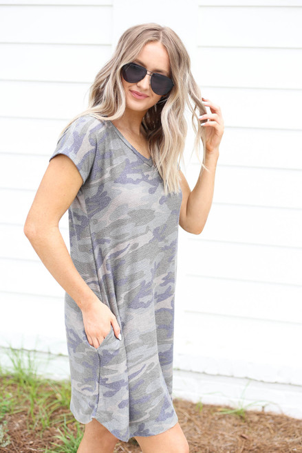 Camo - Short Sleeve French Terry Dress Side View