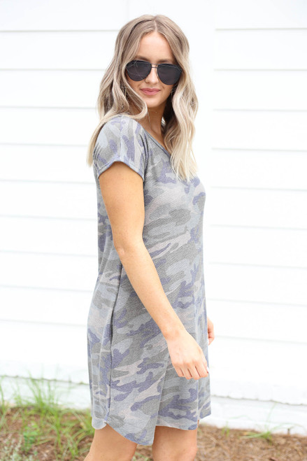 Model wearing Camo Short Sleeve French Terry Dress Side View