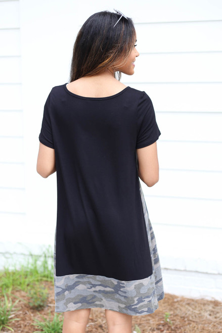 Black - Camo Contrast T-Shirt Dress Back View