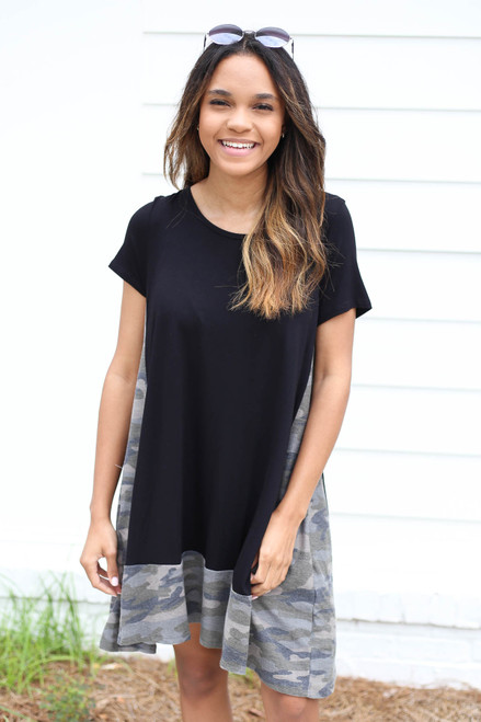 Model wearing Black and Camo Contrast T-Shirt Dress