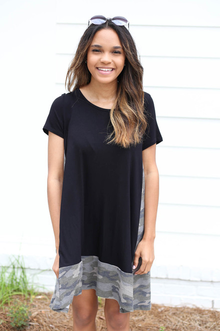 Model wearing Black and Camo Contrast T-Shirt Dress Front View