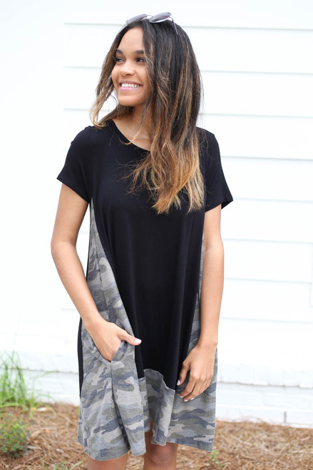 Black - Camo Contrast T-Shirt Dress