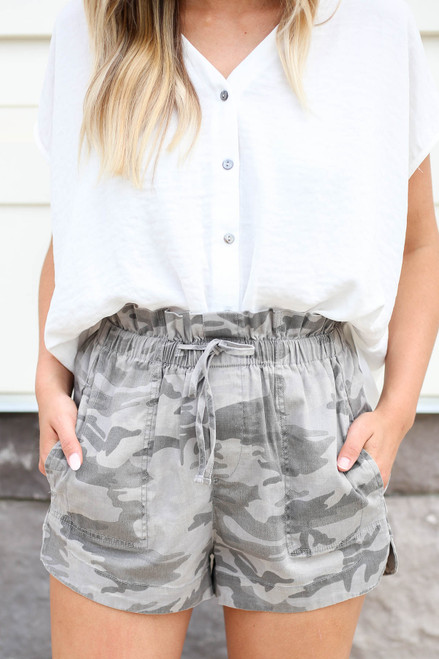 Camo - Paperbag Waist Drawstring Shorts Detail View