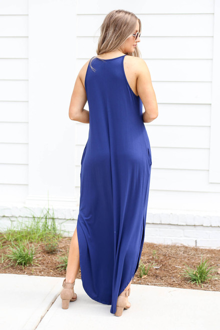 Model wearing Navy High Neck Maxi Dress Back View