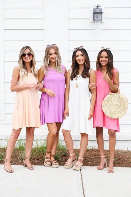Peach - White, Purple, and Neon Pink Swing Dresses Group Shot