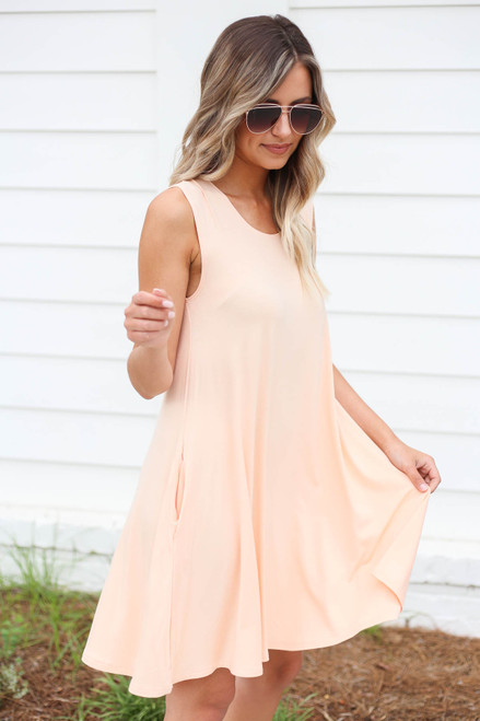 Peach - Pocketed Swing Dress Side View