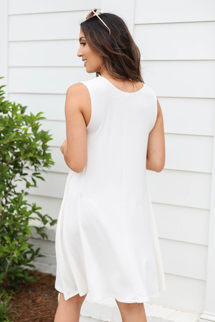 White - Pocketed Swing Dress Back View
