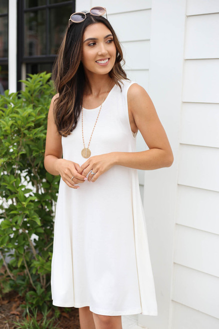 Model wearing White Pocketed Swing Dress Front View