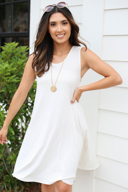 White - Pocketed Swing Dress Front View