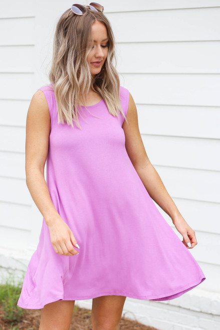 Purple - Pocketed Swing Dress