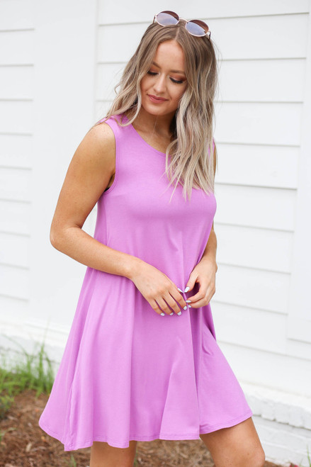 Model wearing Purple Pocketed Swing Dress Side View