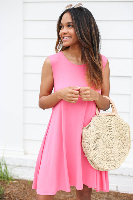 Neon Pink - Pocketed Swing Dress Front View